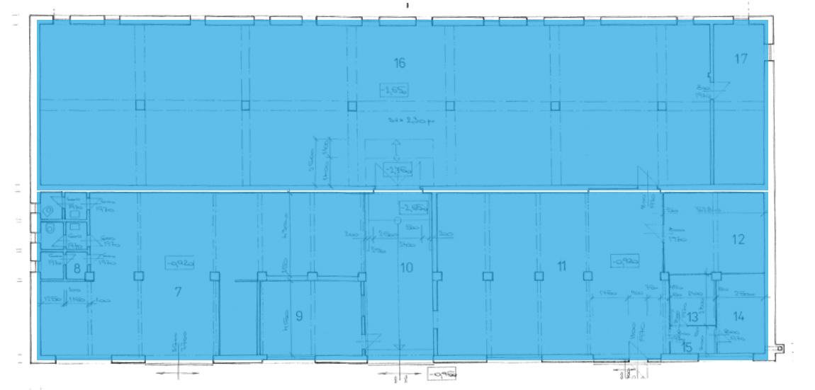 Skladová hala s kopulí – snížené patro + sklep 1. PP
